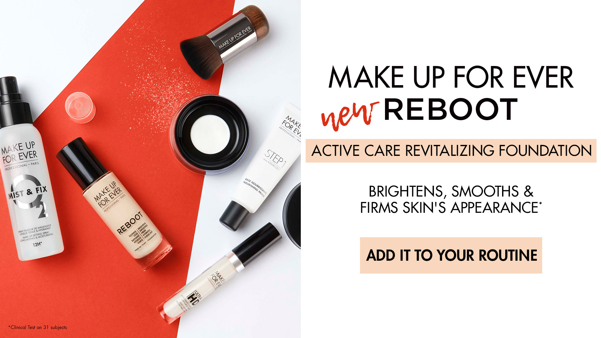 Make Up For Ever Reboot - ACTIVE CARE REVITALIZING FOUNDATION, A light-to-medium coverage, skin-revitalizing foundation that adds a radiant, satin finish while hydrating, smoothing and firming the skin for 24 hours.
