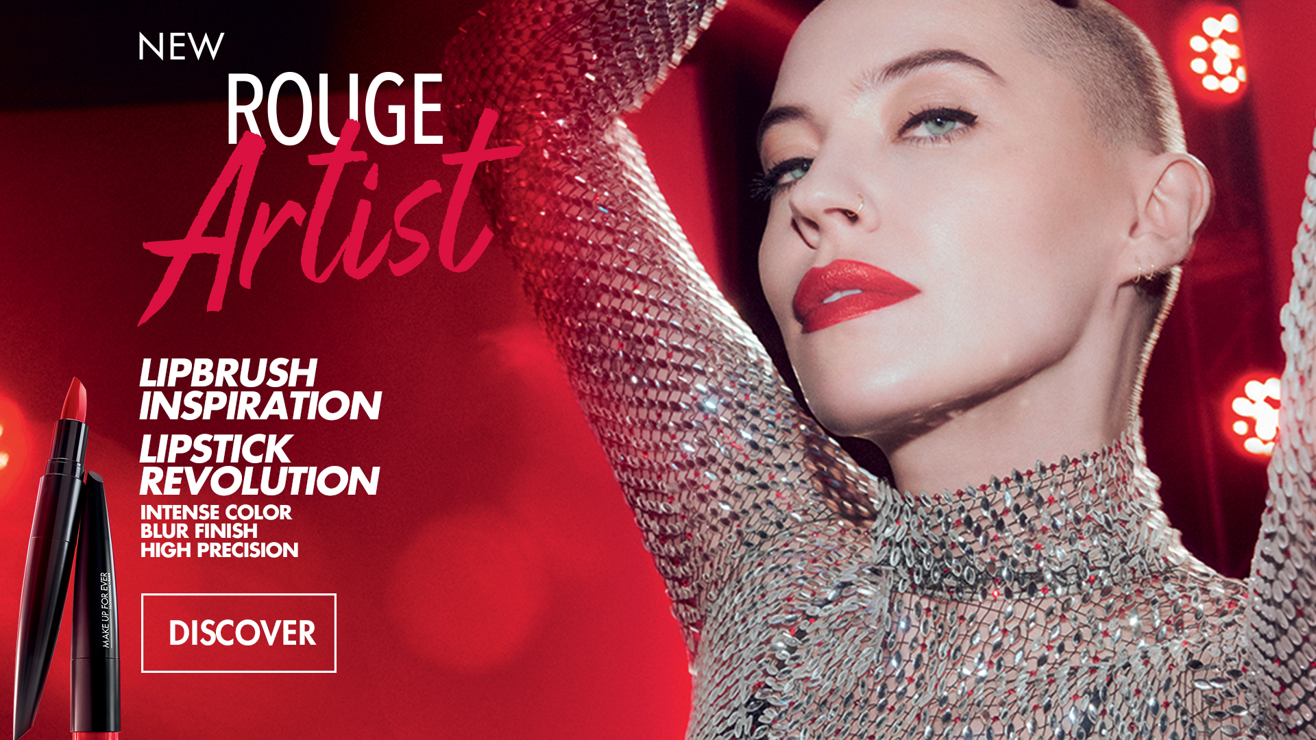 ROuge Artist make up for ever reinvents the lipstick inspired by lipbrush. intense color-blur finish. 60 shades